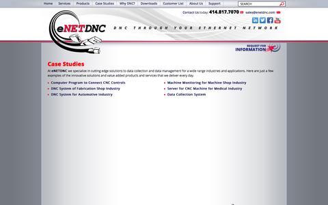 Screenshot of Case Studies Page enetdnc.com - Case Studies - eNETDNC - captured Sept. 30, 2014