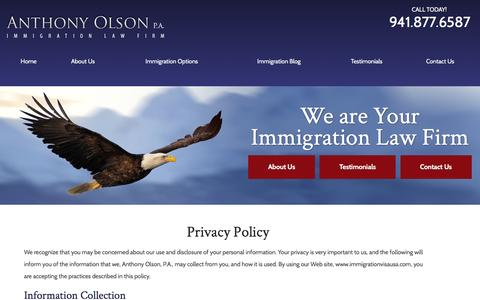 Screenshot of Privacy Page immigrationvisausa.com - Privacy Policy United States Immigration Attorney | Florida Immigration Law Firm - captured Nov. 21, 2016