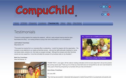 Screenshot of Testimonials Page compuchild.com - Testimonials - captured July 15, 2016