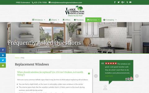 Screenshot of FAQ Page lakewashingtonwindows.com - Window Replacement FAQ, Seattle, WA, Lake Washington Windows - captured Sept. 26, 2018