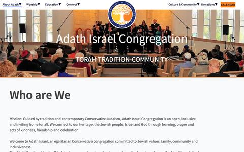 Screenshot of About Page adathisraelnj.org - Who are We - Adath Israel Congregation - captured Nov. 12, 2018