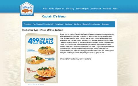 Screenshot of Menu Page captainds.com - Captain D's - Your Seafood Restaurant |  Menu | Promotion - captured May 14, 2017