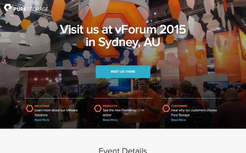 Screenshot of Landing Page purestorage.com - Pure Storage | vForum Sydney - captured March 15, 2016