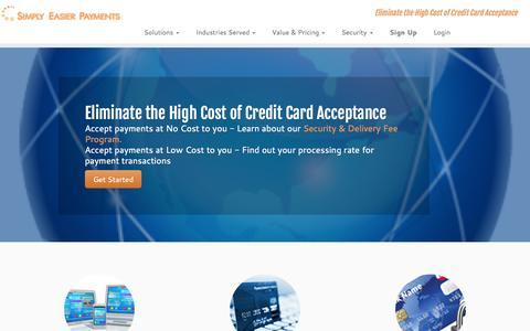 Screenshot of Home Page simplyeasierpayments.com - Simply Easier Payments | Eliminate the High Cost of Credit Card Acceptance - captured July 15, 2015
