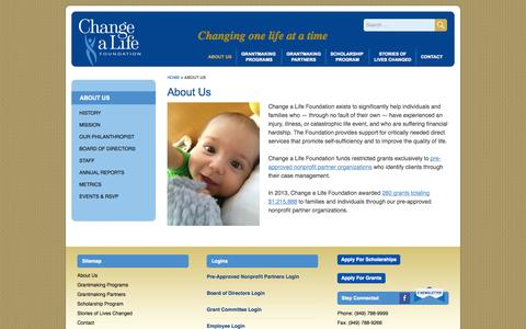 Screenshot of About Page changealife.org - About Us - Change a Life Foundation - captured Oct. 27, 2014