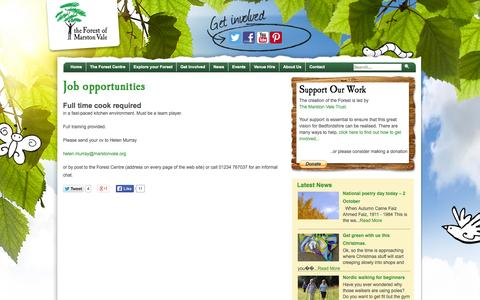 Screenshot of Jobs Page marstonvale.org - Job opportunities  |  The Forest of Marston Vale | The Forest of Marston Vale - captured Oct. 6, 2014