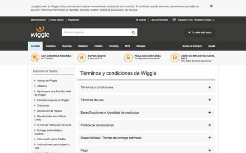 Screenshot of Terms Page wiggle.es - Wiggle Atención al cliente - captured Dec. 5, 2016