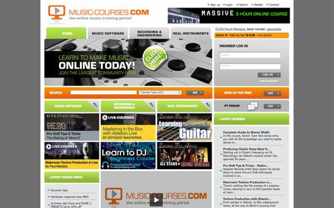 Screenshot of Home Page music-courses.com - Music Courses, Online Music Production Training, Music Software Lessons, Real Instruments, Recording - captured Sept. 18, 2015