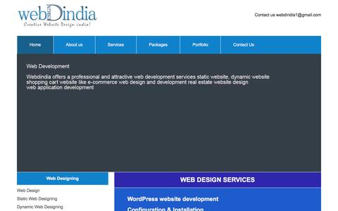 Screenshot of Services Page webdindia.com - Web Design Services, Web Design Services Webdindia, Cheap Web Design Services Delhi, Website Designing Services in India - captured Feb. 14, 2016