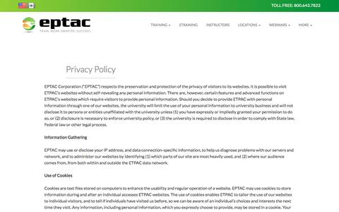 Screenshot of Privacy Page eptac.com - Privacy Policy | EPTAC - captured July 9, 2016
