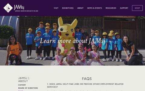 Screenshot of FAQ Page jamsj.org - JAMsj  I  FAQs — Japanese American Museum of San Jose - captured Dec. 20, 2018