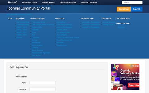 Screenshot of Trial Page joomla.org - Register - captured Nov. 6, 2019