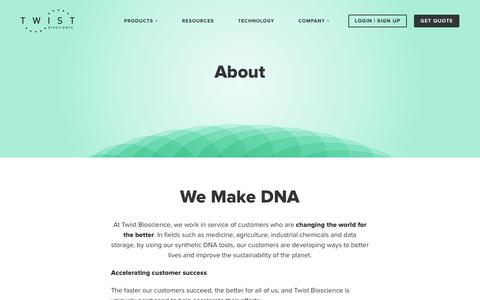 Screenshot of About Page twistbioscience.com - Twist Bioscience | About Us - captured Nov. 4, 2018