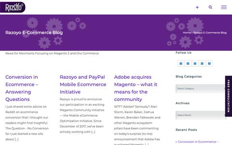 Screenshot of Blog razoyo.com - Razoyo E-Commerce Blog Archives - Razoyo - captured Nov. 7, 2018