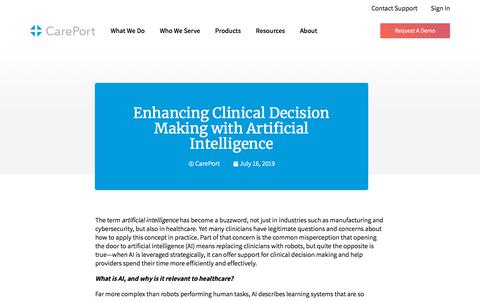 Screenshot of Blog careporthealth.com - Enhancing Clinical Decision Making with Artificial Intelligence - Careport Health - captured Feb. 20, 2020