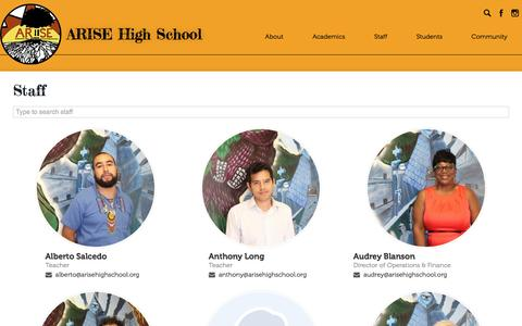 Screenshot of Team Page arisehighschool.org - Staff Directory | ARISE High School - captured May 30, 2017