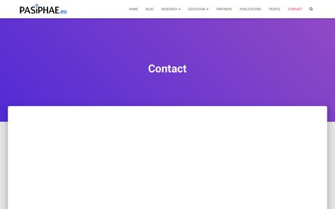 Screenshot of Contact Page pasiphae.eu - Contact – Pasiphae Laboratory - captured Sept. 24, 2018
