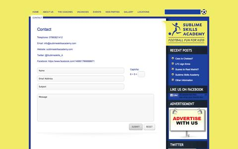 Screenshot of Contact Page sublimeskillsacademy.com - Contact - Sublime Skills Academy - captured Oct. 7, 2014