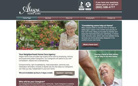 Screenshot of Home Page alegrecare.com - Alegre Home Care - captured Oct. 4, 2014
