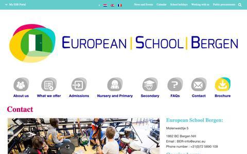 Screenshot of Contact Page esbergen.eu - Contact | European School of Bergen (NL) - captured Sept. 29, 2018