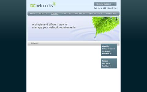 Screenshot of Services Page dcnetworks.ie - DC Networks - Services - Overview - captured Oct. 7, 2014