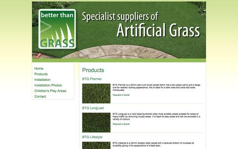 Screenshot of Products Page betterthangrass.co.uk - Better Than Grass | Artificial Grass Installation | Newark | Nottinghamshire | East Midlands - captured Sept. 30, 2014