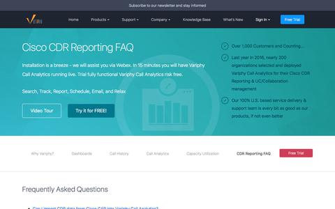 Screenshot of FAQ Page variphy.com - Cisco CDR Reporting - CDR Reporting FAQ | Variphy Cisco CDR Reporting - captured Oct. 19, 2017