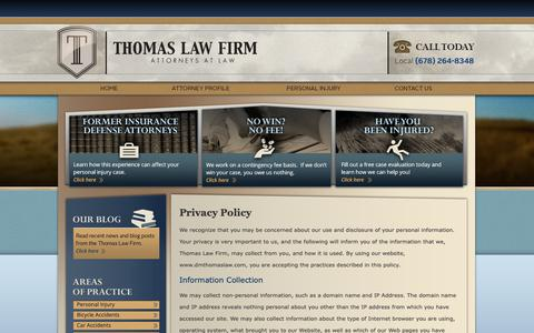 Screenshot of Privacy Page dmthomaslaw.com - Privacy Policy | Atlanta Personal Injury Lawyer - captured Sept. 27, 2018