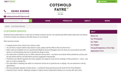 Screenshot of Support Page cotswold-fayre.co.uk - Customer Service - captured Feb. 1, 2016