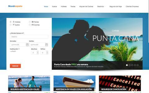 Screenshot of Home Page mundiespana.com - Mundiespaña Agencia de Viajes, su agencia On Line - captured Oct. 17, 2015