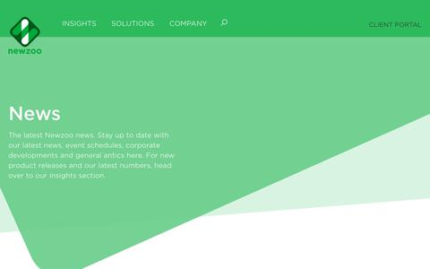 Screenshot of Press Page newzoo.com - Newzoo's Latest News and Developments - captured Sept. 23, 2018