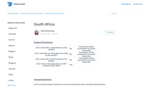 South Africa – Support & Help