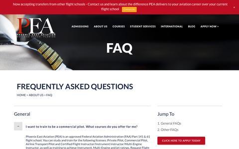 Screenshot of FAQ Page pea.com - FAQ | Phoenix East Aviation - captured Nov. 6, 2016