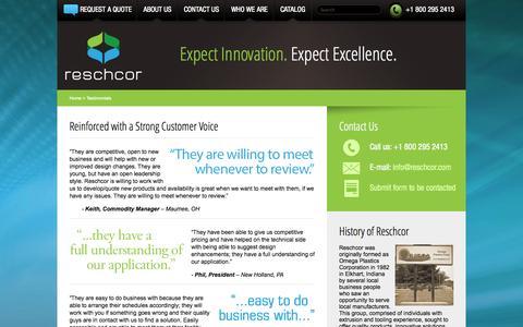 Screenshot of Testimonials Page reschcor.com - Testimonials - Reschcor - captured Sept. 30, 2014
