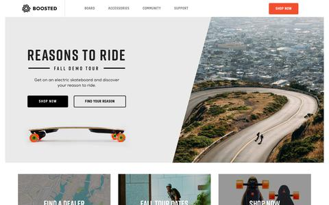 Screenshot of Home Page boostedboards.com - Boosted boards | The premium electric skateboard - captured Sept. 18, 2017