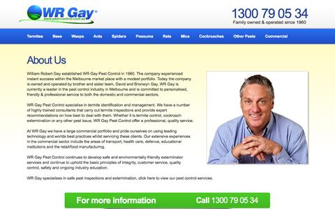 About Us | Call 1300 769 534 | W.R. Gay Pest Control