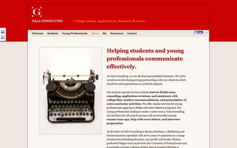 Screenshot of About Page galaconsulting.com - About | Gala Consulting - captured Oct. 1, 2014