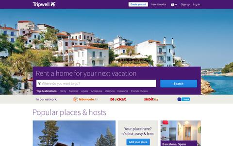 Screenshot of Home Page tripwell.com - Tripwell -       Vacation Homes, Apartments, Houses & Rooms for Rent - captured Sept. 19, 2014