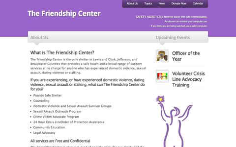 Screenshot of About Page thefriendshipcenter.org - The Friendship Center |   About Us - captured Sept. 21, 2018
