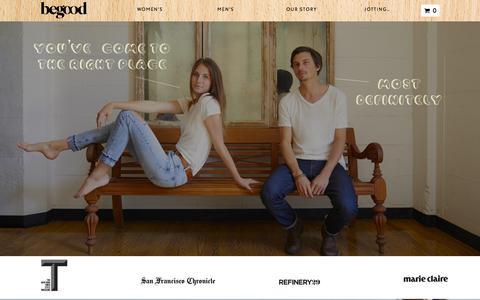 Screenshot of Home Page begoodclothes.com - BeGood Clothing | Premium Eco-Friendly Clothing - captured Dec. 12, 2015