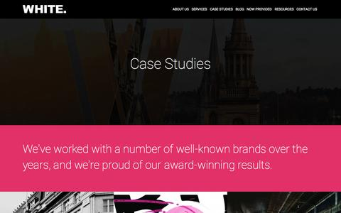 Screenshot of Case Studies Page white.net - SEO, PPC, Content Marketing & Analytics Case Studies | White.net - captured Oct. 1, 2015
