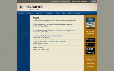 Screenshot of Press Page therightseed.com - Hoegemeyer Hybrids | News - captured Oct. 2, 2014