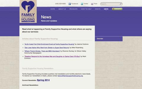 Screenshot of Press Page familysupportivehousing.org - News | Family Supportive Housing - captured Oct. 29, 2014