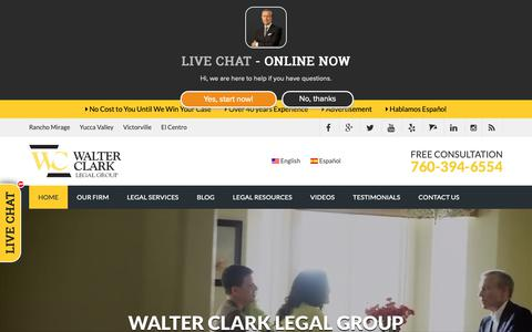Screenshot of Home Page walterclark.com - Accident Lawyer Palm Springs | Personal Injury Lawyer Palm Desert | Walter Clark Legal Group - captured Nov. 15, 2018