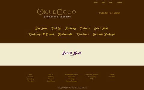 Screenshot of Blog okiecoco.co.uk - Latest News / Okie Coco Chocolate Alchemy - captured Oct. 26, 2014
