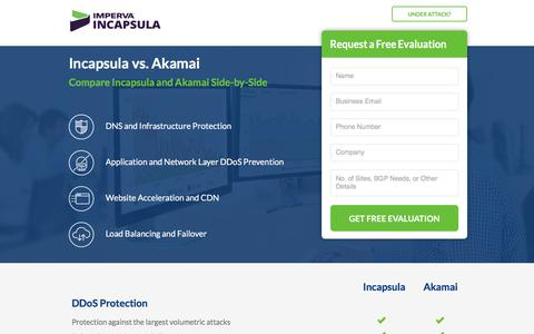 Screenshot of Landing Page incapsula.com - Incapsula vs. Akamai Comparison - captured Dec. 4, 2016