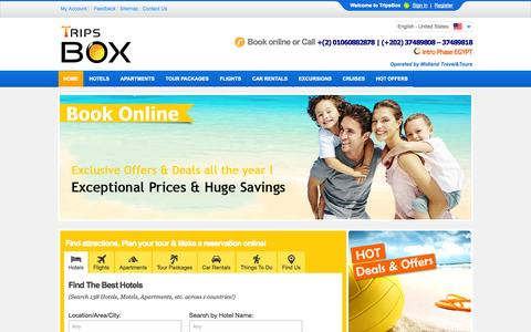 Screenshot of Home Page tripsbox.com - TripsBox | Hotels, Cheap Flights, Travel offers, Travel Packages, Vacations, Car Rentals, Hotels Discount, Hotels Online Booking. - captured Oct. 6, 2014
