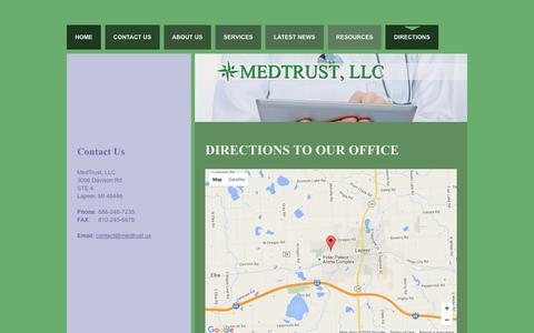 Screenshot of Maps & Directions Page medtrust.us - Directions | 3056 Davsion Rd STE 4 | Lapeer, MI 48446 | (888) 248-7235 - captured Feb. 12, 2016
