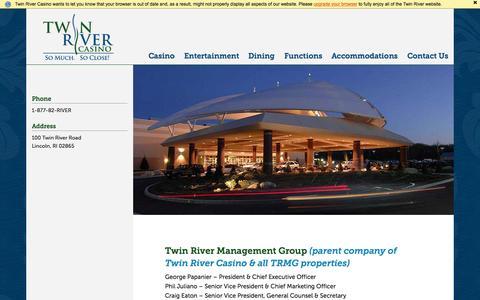 Screenshot of Team Page twinriver.com - Management - Twin River Casino - captured Nov. 20, 2015