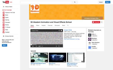 Screenshot of YouTube Page youtube.com - 3D Akademi Animation and Visual Effects School  - YouTube - captured Oct. 26, 2014